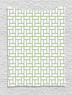 Maze Shaped Squares Lines Tapestry