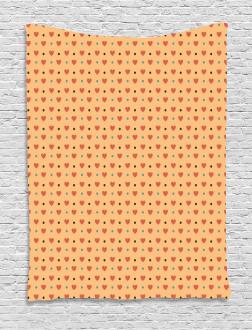 Hearts Retro Polka Dots Tapestry