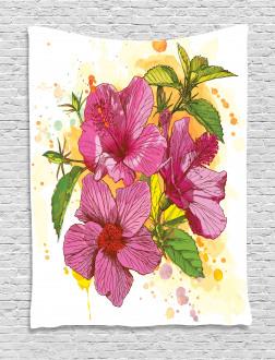 Vibrant Hibiscus Flower Tapestry