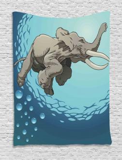 Elephant in Tropic Ocean Tapestry