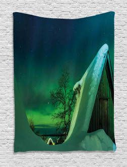 Wooden House Winter Tapestry