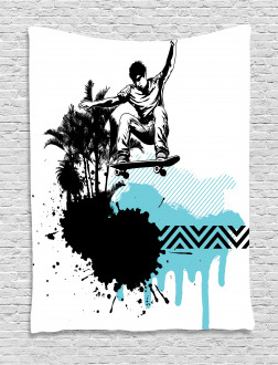 Young Boy Skater Exotic Tapestry