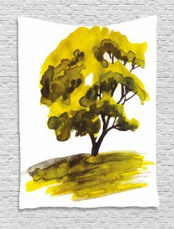 Watercolor Oak Tree Tapestry
