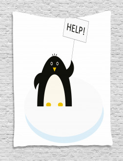 Penguin on Ice Need Help Tapestry