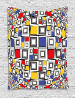 Colored Mosaic Square Tapestry