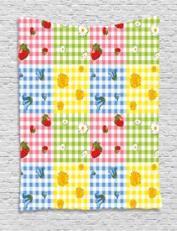 Berries Flowers Picnic Tapestry
