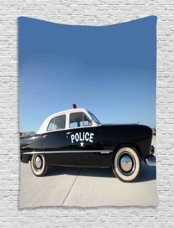 Old Police Car Digital Tapestry