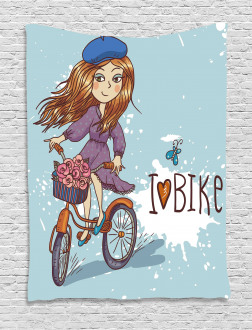 Cartoon Girl with Bike Tapestry