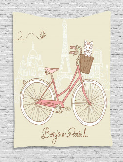 Postcard from Paris Bicycle Tapestry