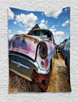 Rusty Abandoned Cars Tapestry