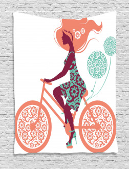 Coral Flowers Bikes Girl Tapestry