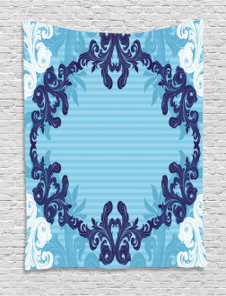 Blue Ornamental Flowers Tapestry