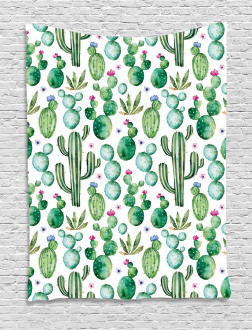 Mexican Cactus Plants Tapestry