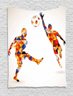 Colorful Footballers Tapestry