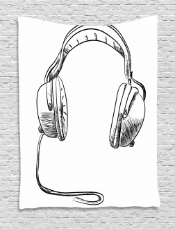 Sketchy DJ Headphones Tapestry