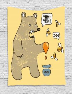 Cute Bear Bees Honey Comic Tapestry