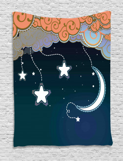 Clouds Stars and Moon Tapestry