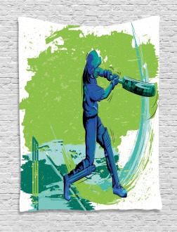 Cricket Player Pitching Tapestry