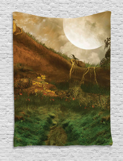 Valley with Full Moon Tapestry