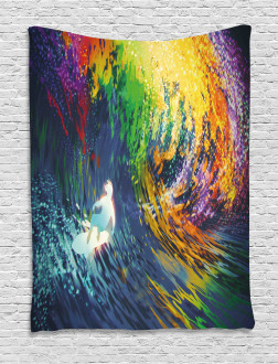 Exotic Surfer on Waves Tapestry