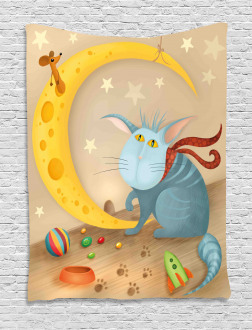 Cat Mouse Crescent Moon Tapestry