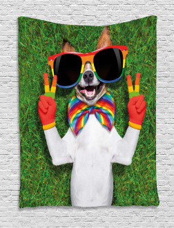 Gay Dog Peace Sign Pride Tapestry