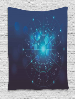Zodiac Signs in Space Tapestry