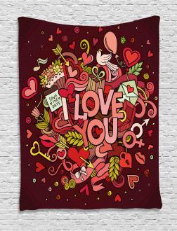 Funky Hearts Arrows Tapestry