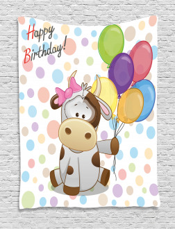 Baby Cow and Balloons Tapestry