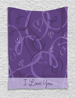 Indigo Purple Hearts Tapestry