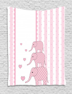 Pink Animals Tapestry