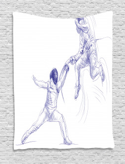 Fencing Duel Sketchy Tapestry