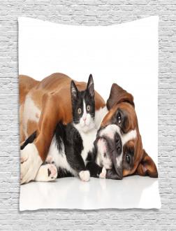 Cute Cat Dog Friendship Tapestry