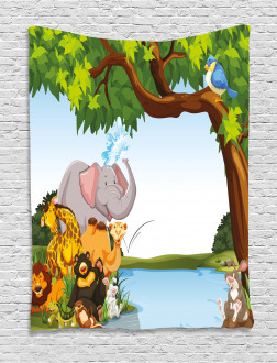 Cartoon Animals Cute Funny Tapestry