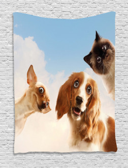 Cats Dogs in Sky Clouds Tapestry