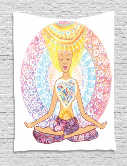 Woman in Lotus Position Tapestry