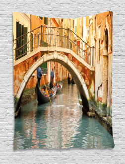 Venice Tapestry Ancient Bridge Gondola Printed Wall Hanging