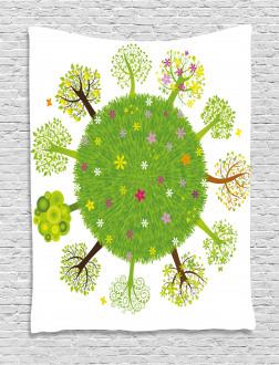 Various Green Trees Bloom Tapestry