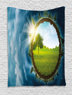 Circle Greenery Clouds Tapestry