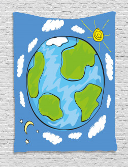 Kids Drawing of Planet Tapestry