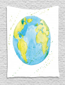 Watercolor Style Planet Tapestry
