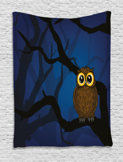 Cute Owl on Tree Branch Tapestry