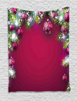 Tree Balls Snowflakes Tapestry