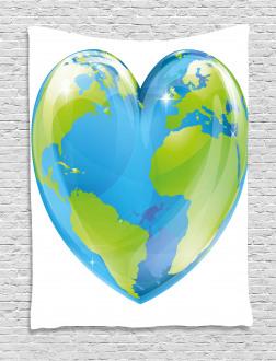 Vibrant Globe Heart Shape Tapestry