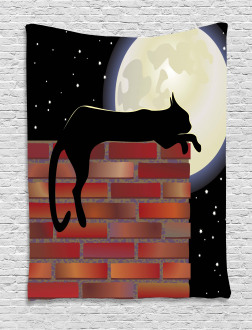 Sillhouette Cat Resting Tapestry