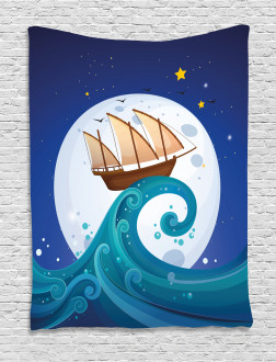 Old Ship Riding Waves Tapestry