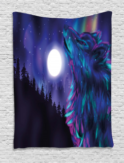 Aurora Borealis and Wolf Tapestry