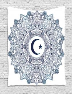 Arabesque Religious Circle Tapestry