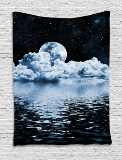 Moon Sets over the Clouds Tapestry