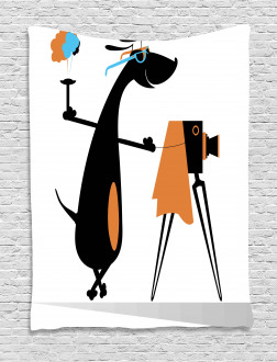 Comic Dog with Glasses Tapestry
